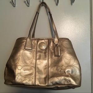 Gold New Coach Leather Purse
